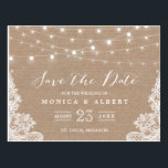 "Rustic String Lights Burlap Lace | Save the Date Postcard<br><div class=""desc"">================= ABOUT THIS DESIGN ================= 