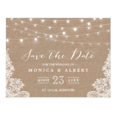 Rustic String Lights Burlap Lace | Save The Date Postcard at Zazzle