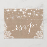 """Rustic String Lights Burlap Lace Wedding RSVP Invitation Postcard<br><div class=""""desc"""">================= ABOUT THIS DESIGN =================  Rustic Country String Lights Burlap Lace Wedding RSVP Card.  (1) All text style,  colors,  sizes can be modified to fit your needs.  (2) If you need any customization or matching items,  please contact me.</div>"""