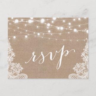 Rustic String Lights Burlap Lace Wedding RSVP Invitation Postcard