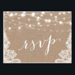 "Rustic String Lights Burlap Lace Wedding RSVP Postcard<br><div class=""desc"">================= ABOUT THIS DESIGN ================= 