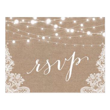 CardHunter Rustic String Lights Burlap Lace Wedding RSVP Postcard