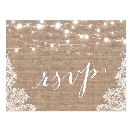 Rustic String Lights Burlap Lace Wedding RSVP Postcard Zazzle
