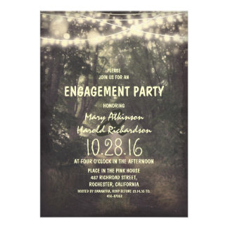 rustic string lights engagement party announcements