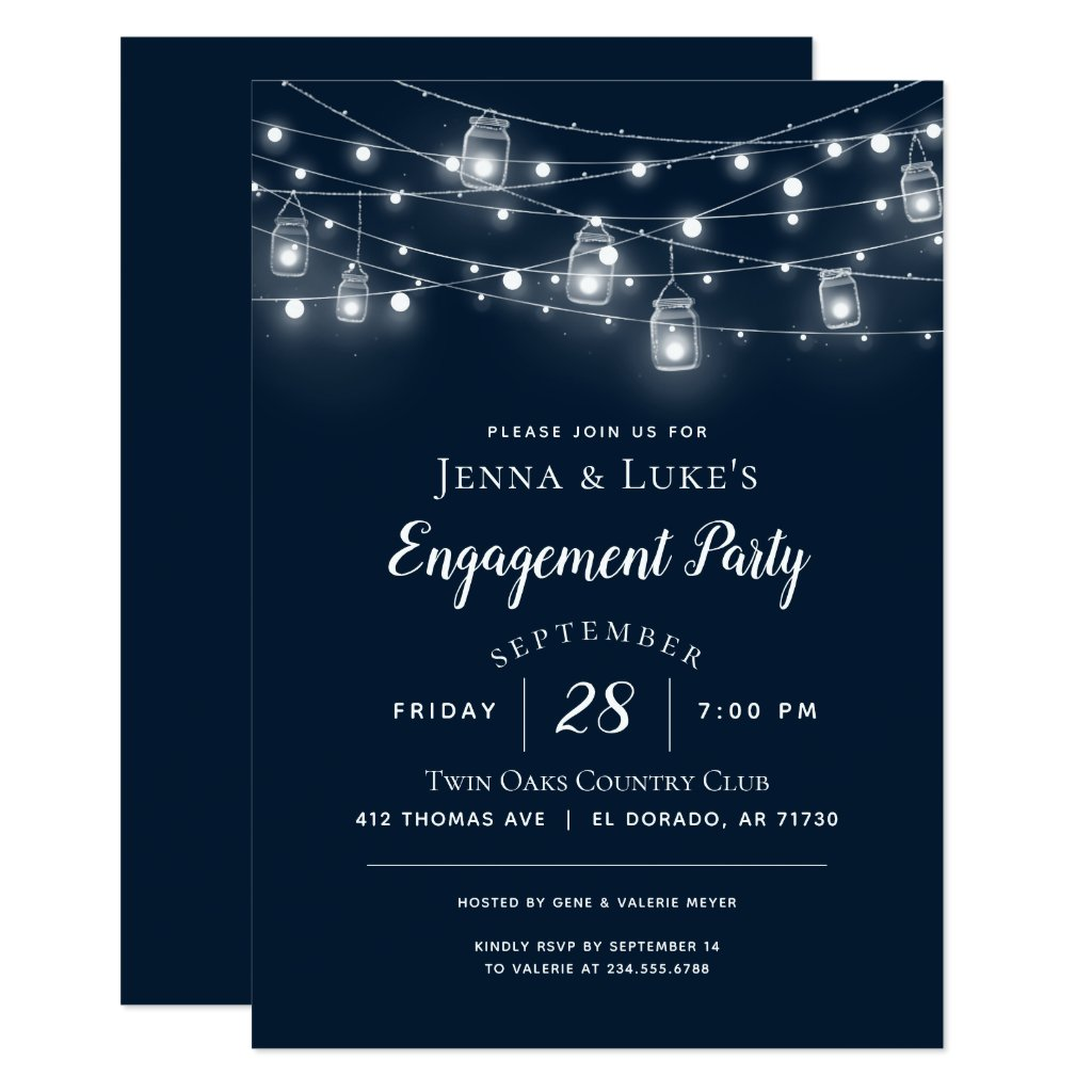 Rustic String Lights Engagement Party Invitation