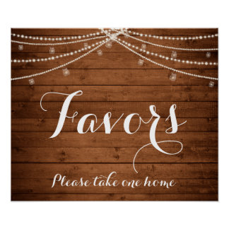 Rustic String Lights Favors Sign