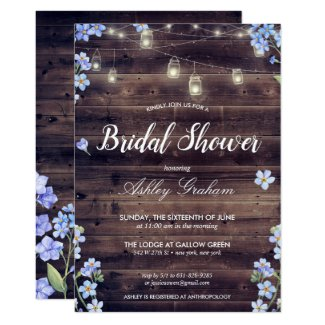 Rustic String Lights Floral Barnwood Bridal Shower Invitation