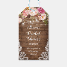 ef338e1d12d Rustic String Lights Floral Lace Bridal Shower Gift Tags at Zazzle