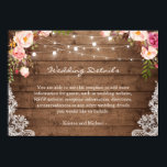 """Rustic String Lights Floral Lace Wedding Details Card<br><div class=""""desc"""">Customize this &quot;Rustic String Lights Floral Lace Wedding Details Card&quot; with your own wedding information. It&#39;s easy to personalize to match your wedding colors, styles and theme. (1) For further customization, please click the &quot;customize further&quot; link and use our design tool to modify this template. (2) If you prefer thicker...</div>"""