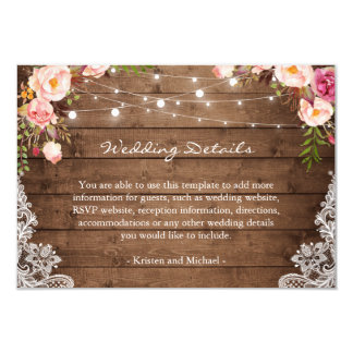 Rustic String Lights Floral Lace Wedding Details Card