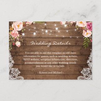 Rustic String Lights Floral Lace Wedding Details Enclosure Card