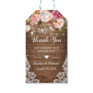 Rustic String Lights Floral Lace Wedding Thank You Gift Tags