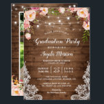 """Rustic String Lights Floral Photo Graduation Party Card<br><div class=""""desc"""">Celebrate the Graduate with this &quot;Rustic String Lights Floral Photo Graduation Party Invitation&quot; that match her style. You can easily personalize this template to be uniquely yours! (1) For further customization, please click the &quot;customize further&quot; link and use our design tool to modify this template. (2) If you prefer thicker...</div>"""