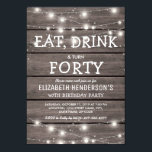 "Rustic String Lights Forty Birthday Party | 40th Invitation<br><div class=""desc"">Fortieth birthday celebration invitations featuring a rustic wooden background,  string twinkle lights ans a birthday wording template. The birthday age on this invitation can also be changed to 18th,  21st,  30th,  50th,  60th,  etc.</div>"