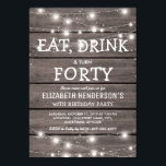 """Rustic String Lights Forty Birthday Party   40th Invitation<br><div class=""""desc"""">Fortieth birthday celebration invitations featuring a rustic wooden background,  string twinkle lights ans a birthday wording template. The birthday age on this invitation can also be changed to 18th,  21st,  30th,  50th,  60th,  etc.</div>"""