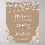 Rustic String Lights Lace Burlap Wedding Sign