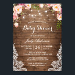 """Rustic String Lights Lace Floral Baby Shower Card<br><div class=""""desc"""">Celebrate the mother-to-be with this &quot;Rustic String Lights Lace Floral Baby Shower Invitation&quot; that match her style. You can easily personalize this template to be uniquely yours! (1) For further customization, please click the &quot;customize further&quot; link and use our design tool to modify this template. (2) If you prefer thicker...</div>"""