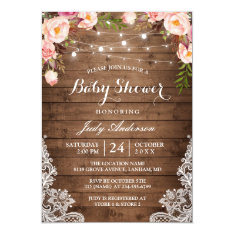 Rustic String Lights Lace Floral Baby Shower Card at Zazzle