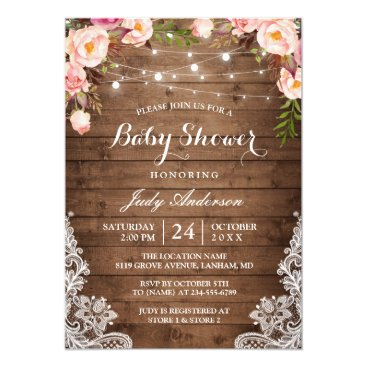 Toddler & Baby themed Rustic String Lights Lace Floral Baby Shower Card