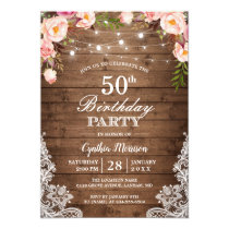 Rustic String Lights Lace Floral Birthday Party Card
