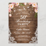 """Rustic String Lights Lace Floral Birthday Party Invitation<br><div class=""""desc"""">Rustic String Lights Lace Floral Birthday Party Invitation. (1) For further customization, please click the """"customize further"""" link and use our design tool to modify this template. (2) If you prefer Thicker papers / Matte Finish, you may consider to choose the Matte Paper Type. (3) If you need help or...</div>"""