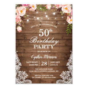 Country birthday cards greeting photo cards zazzle rustic string lights lace floral birthday party invitation filmwisefo