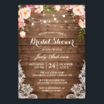 """Rustic String Lights Lace Floral Bridal Shower Card<br><div class=""""desc"""">Celebrate the bride-to-be with this &quot;Rustic String Lights Lace Floral Bridal Shower Invitation&quot; that match her style. You can easily personalize this template to be uniquely yours! (1) For further customization, please click the &quot;customize further&quot; link and use our design tool to modify this template. (2) If you prefer thicker...</div>"""