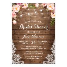 Rustic String Lights Lace Floral Bridal Shower Card