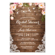 Rustic String Lights Lace Floral Bridal Shower Card at Zazzle