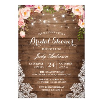 Rustic String Lights Lace Floral Bridal Shower Card by CardHunter at Zazzle