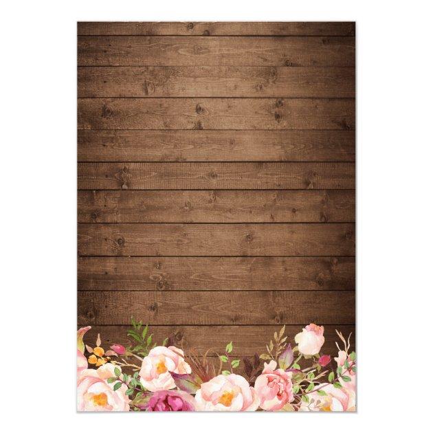 Rustic String Lights Lace Floral Bridal Shower Card (back side)