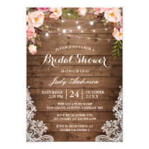 f9491135a20 Rustic String Lights Lace Floral Bridal Shower Invitation
