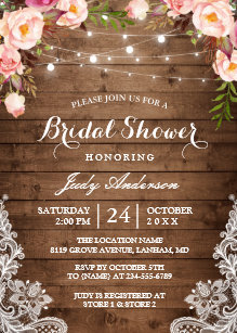 e2aac6161d8 Rustic String Lights Lace Floral Bridal Shower Invitation