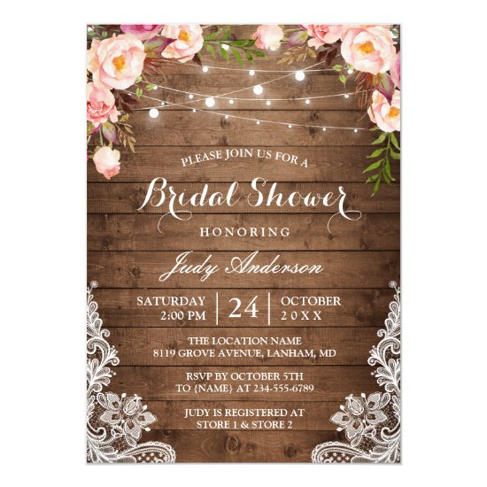317072635634 Rustic String Lights Lace Floral Bridal Shower Invitation