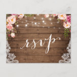"Rustic String Lights Lace Floral Farm Wedding RSVP Invitation Postcard<br><div class=""desc"">Create your own Response Card with this &quot;Rustic String Lights Lace Floral Farm Wedding RSVP Postcard&quot; template to match your wedding style, colors and theme. It&#39;s easy to customize it to be uniquely yours! (1) For further customization, please click the &quot;customize further&quot; link and use our design tool to modify...</div>"
