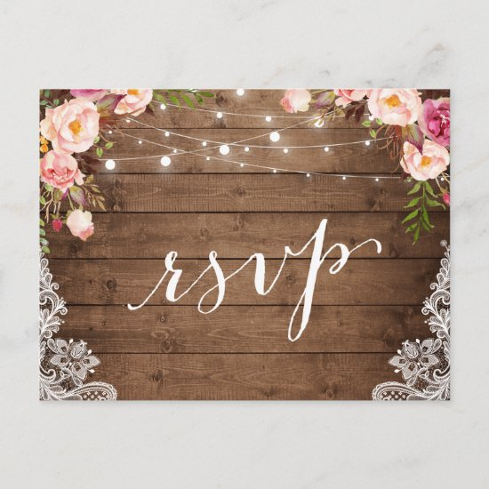 Rustic String Lights Lace Floral Farm Wedding RSVP Invitation Postcard