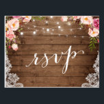 "Rustic String Lights Lace Floral Farm Wedding RSVP Postcard<br><div class=""desc"">Create your own Response Card with this &quot;Rustic String Lights Lace Floral Farm Wedding RSVP Postcard&quot; template to match your wedding style, colors and theme. It&#39;s easy to customize it to be uniquely yours! (1) For further customization, please click the &quot;customize further&quot; link and use our design tool to modify...</div>"