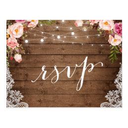 Rustic String Lights Lace Floral Farm Wedding RSVP Postcard