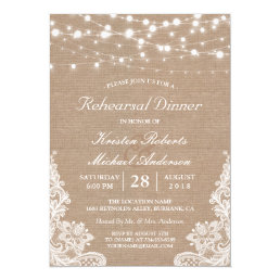 Rustic String Lights Lace Wedding Rehearsal Dinner Card