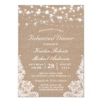 Rustic String Lights Lace Wedding Rehearsal Dinner Invitation