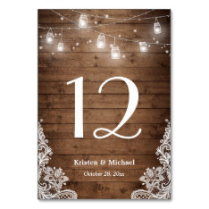 Rustic String Lights Lace Wedding Table Number Card at Zazzle