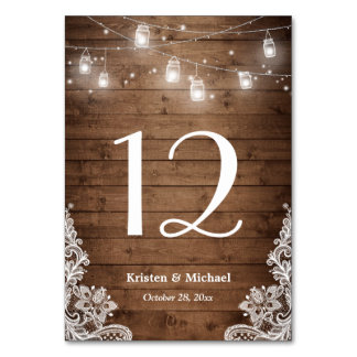 Rustic String Lights Lace Wedding Table Number Card