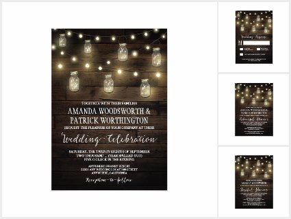 Rustic String Lights Mason Jar Wedding Invite Set