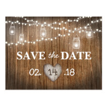 Rustic String Lights Mason Jar Wood Save the Date Postcards