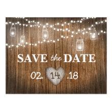 Rustic String Lights Mason Jar Wood Save the Date Postcards