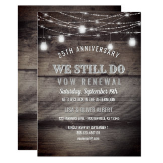 Rustic String Lights Mason Jar Wood Vow Renewal Invitation