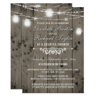 Rustic String Lights Mason Jars Couples Shower Invitation