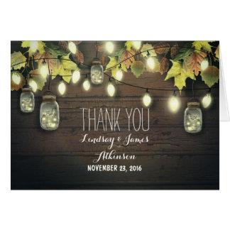 Rustic string lights & mason jars fall thank you card