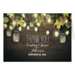 Rustic string lights & mason jars fall thank you stationery note card