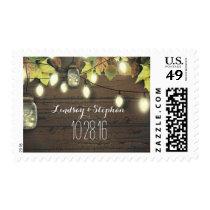 Rustic String Lights Mason Jars Fall Wedding Postage
